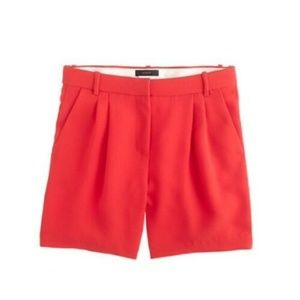 J Crew Women's Pleated Crepe Shorts in Red